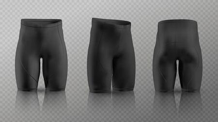 Maquette de shorts de cyclisme pour femmes dans différentes positions. Illustration vectorielle Vecteurs