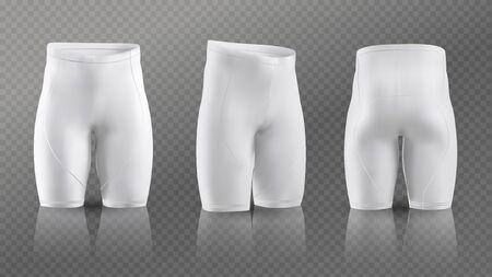 Mockup di pantaloncini da ciclismo da donna in diverse posizioni. Illustrazione vettoriale