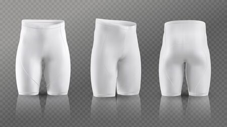 Women's cycling shorts mockup in different positions. Vector illustration