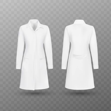 Realistic white medical female lab coat, hospital professional suit vector template isolated. Vector illustration. Ilustrace
