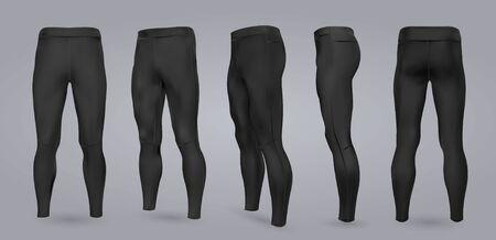 Maqueta de leggings negros para hombres de diferentes lados, aislado en un fondo gris. Ilustración vectorial realista 3D
