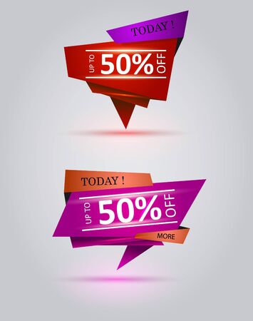 50% Off Half Price Commercial Tag. Vector illustration.  イラスト・ベクター素材