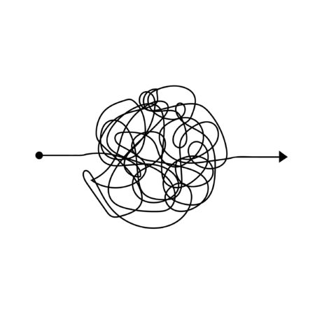 Complicated clew way. Tangled scribble vector path. Chaotic difficult process way. Vector illustration.