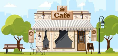 Coffee house. Facade of a coffee shop store or cafe. City street background. Vector illustration Illustration