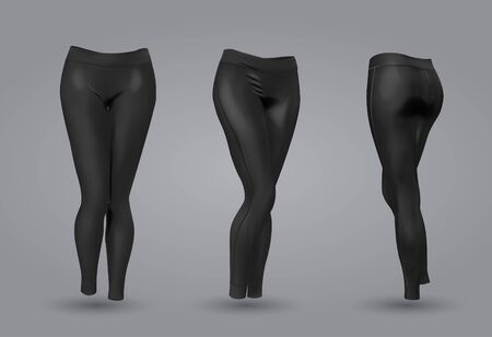 Damen schwarze Leggings Mockup in Vorder- und Rückansicht, auf grauem Hintergrund isoliert. Realistische 3D-Vektorillustration