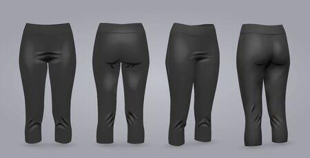 Maqueta de leggings negros de mujer en la vista frontal y posterior, aislado en un fondo gris. Ilustración vectorial realista 3D Ilustración de vector