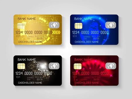 Realistic credit cards set.