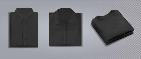 Folded black shirts on gray background. Vector illustration Vektoros illusztráció