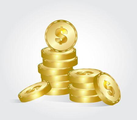 Gold coins. Vector illustration. 版權商用圖片 - 132431423
