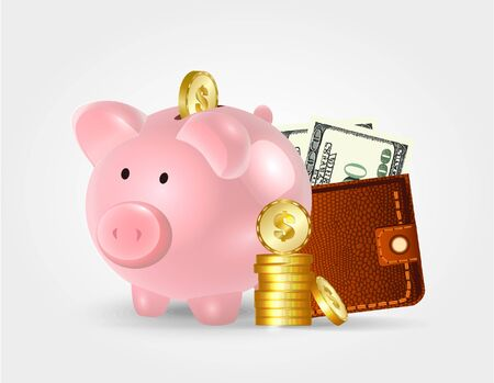 Moneybox in the form of a pig with a coin falling into it. Concept of saving money.
