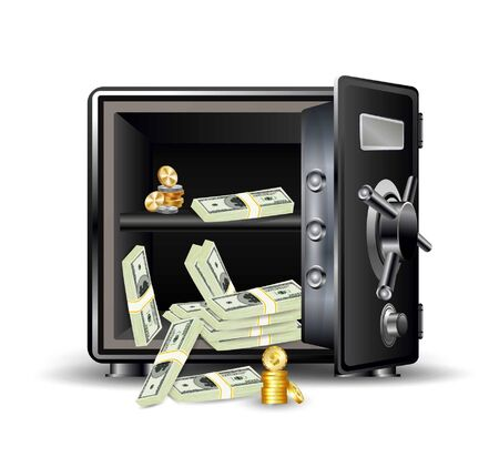 Safe with money and coins. vector illustration