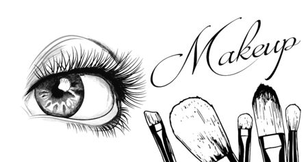 Vector hand drawn illustration of women eye and makeup brushes. Concept for beauty salon, cosmetics label, cosmetology procedures, visage and makeup.