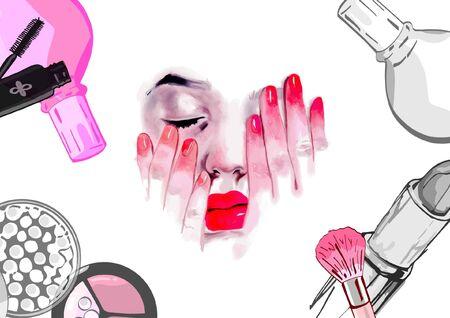 Cosmetics. Fashion illustration with stylish young girl. Vettoriali