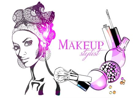 Beautiful pin-up style sexy woman dreaming about beauty products for makeup. Beauty and fashion industry advertising banner vector illustration