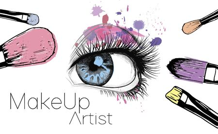 Gezeichnete Illustration des Vektors Hand von bunten Frauenaugen- und Make-upbürsten. Konzept für Schönheitssalon, Kosmetiketikett, Kosmetikverfahren, Visage und Make-up.