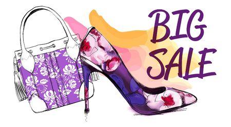 Gran venta Bolso de mujer y zapato de mujer de tacón alto. Plantilla de diseño. Casual y festivo. Ilustración de vector. Ilustración de vector