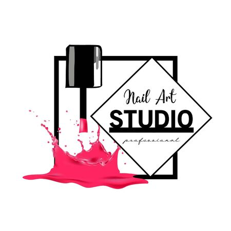 Nail Art studio logo design template.  イラスト・ベクター素材