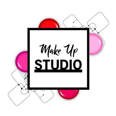 Makeup studio logo design template. Stock Illustratie