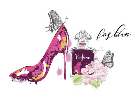 Beautiful card with high heel shoe and perfume bottle. Fashion illustration. Vecteurs