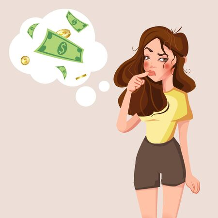 Cartoon young standing woman thinking with money mark in think bubble. Businesswoman thinks about problem vector illustration. Woman and money bubble thinking, expression and think problem