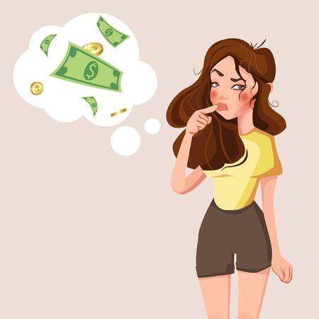 Jeune femme debout de dessin animé pensant avec la marque d'argent dans la bulle de réflexion. Femme d'affaires pense à l'illustration vectorielle de problème. Femme et bulle d'argent pensant, expression et problème de réflexion