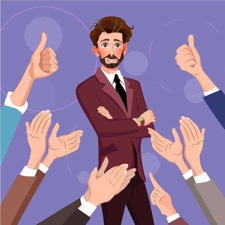 Success in business. Human hands clapping. Flat design modern vector illustration concept