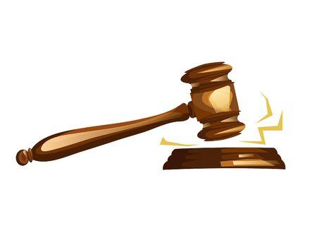 Marteau de juge en bois. Illustration vectorielle de dessin animé
