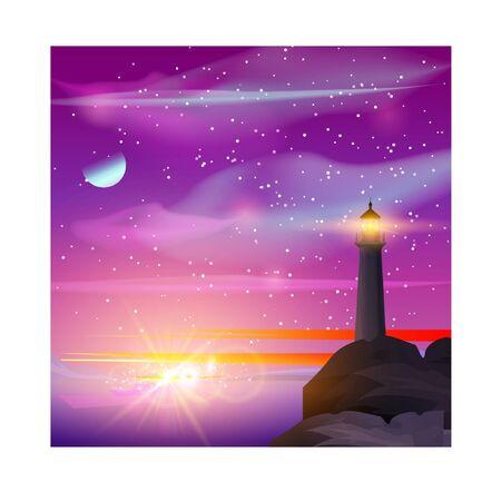 Illustration vectorielle de phare en mer de nuit. Phare au bord de la mer avec montagnes, aurore et ciel étoilé. Paysage de nuit.