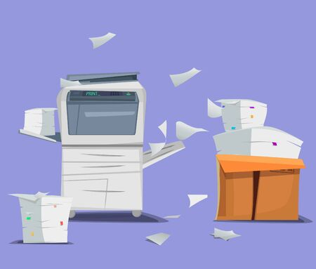 Office multifunction printer scanner. Copier with flying paper isolated on background. Copy machine with pile of documents, stack of papers in cardboard boxes. Vector cartoon illustration. Flat design Illustration