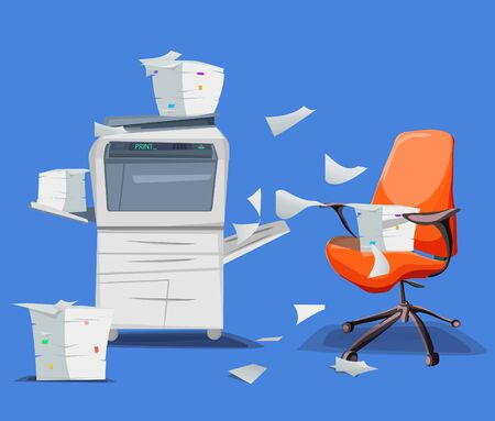 Office printer scanner. Copier with flying paper isolated on background. Copy machine with pile of documents, stack of papers in cardboard boxes with office chair. Vector car