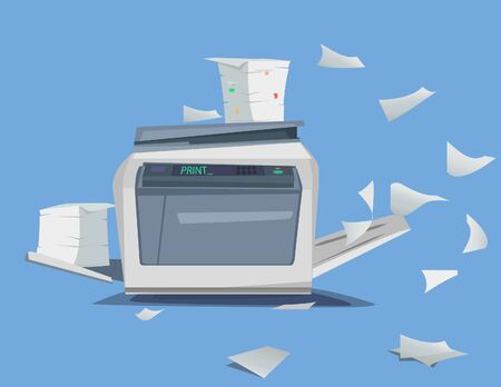 Office Multifunction Printer scanner. A lot of documents and papers Isolated Flat Vector Illustration