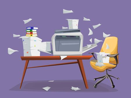 Office printer scanner. Copier with flying paper isolated on background. Copy machine with pile of documents, stack of papers in cardboard boxes on the table with office chair. Vector car