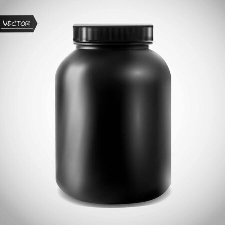 Realistic vector sport nutrition container without label. Whey protein and mass gainer black plastic jar isolated on white background. Çizim
