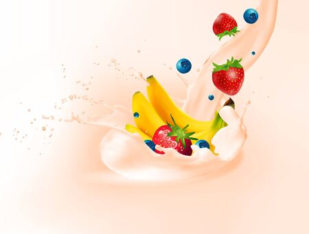 A splash of milk with strawberry and banana 3d vector object. Natural dairy product