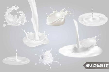 La leche salpica, cae y borra. Ilustración de vector