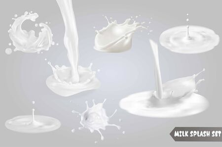 Milk splashes, drops and blots.
