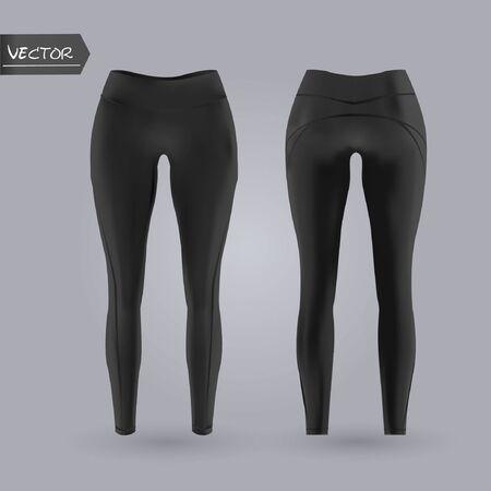Czarne legginsy damskie makieta z przodu iz tyłu, na białym tle na szarym tle. Realistyczna ilustracja wektorowa 3D Ilustracje wektorowe