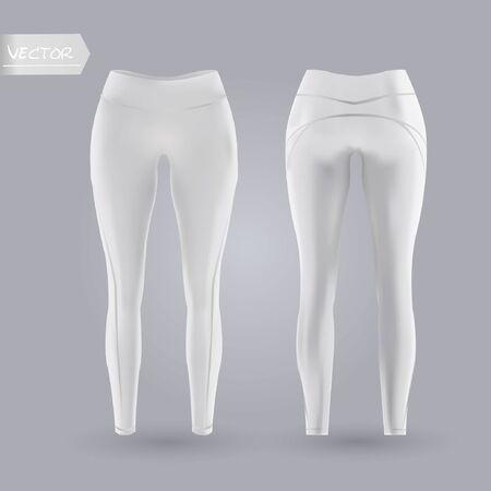 Damen Leggings Mockup in Vorder- und Rückansicht, auf grauem Hintergrund isoliert. Realistische 3D-Vektorillustration