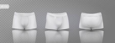 Calzoncillos tipo bóxer para hombre en diferentes posiciones. Ilustración vectorial Ilustración de vector