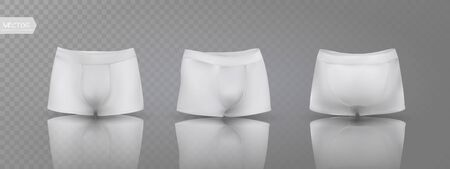 Men's boxer briefs in different positions. Vector illustration