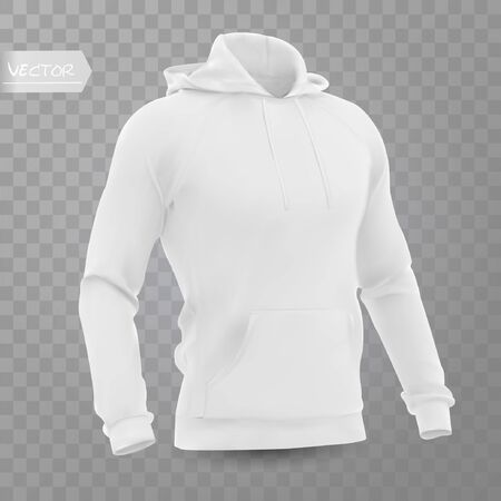 White men's hooded sweatshirt mockup in front, isolated on a gray background. 3D realistic vector illustration, pattern formal or casual sweatshirt.