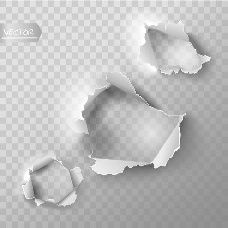 Realistic holes set in paper isolated on transparent background. Vector illustration. Vettoriali