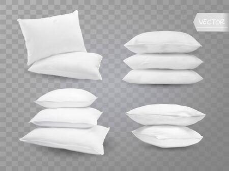 Realista cama blanca habitación rectangular almohadas lado en vista superior combinaciones maqueta conjunto fondo transparente ilustración vectorial