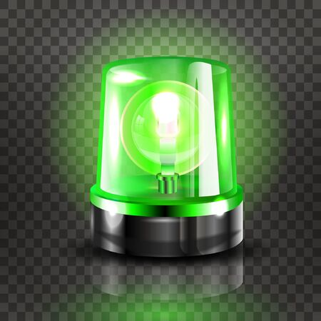 Green Flasher Siren Vector. Realistic Object. Light effect. Beacon For Police Cars Ambulance, Fire Trucks. Emergency Flashing Siren. Transparent background vector illustration Banque d'images - 132869298