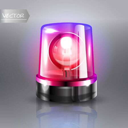 Flasher Siren Vector. Realistic Object. Light effect. Beacon For Police Cars Ambulance, Fire Trucks. Emergency Flashing Siren. Transparent background vector illustration Banque d'images - 132869299