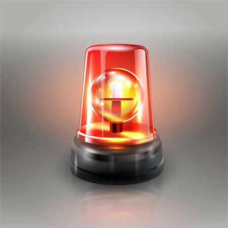 Red Flasher Siren Vector. Realistic Object. Light effect. Beacon For Police Cars Ambulance, Fire Trucks. Emergency Flashing Siren. Gray background vector illustration Banque d'images - 132869303