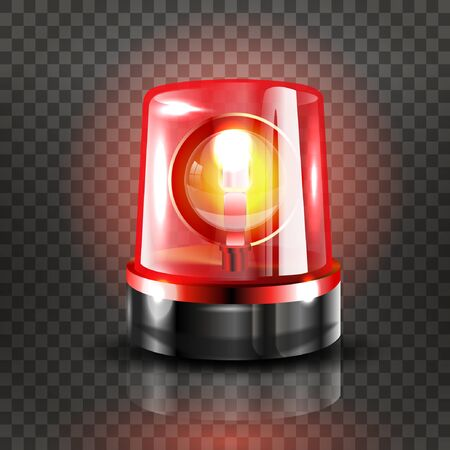 Red Flasher Siren Vector. Realistic Object. Light effect. Beacon For Police Cars Ambulance, Fire Trucks. Emergency Flashing Siren. Transparent background vector illustration Banque d'images - 132869304