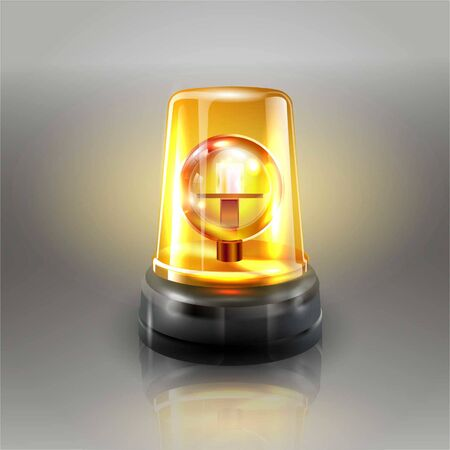 Orange Flasher Siren Vector. Realistic Object. Light effect. Beacon For Police Cars Ambulance, Fire Trucks. Emergency Flashing Siren. Gray background vector illustration Banque d'images - 132869305
