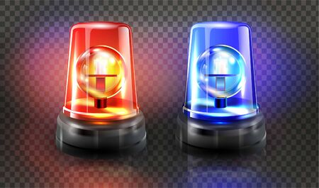 Red and blue flashers Siren Vector. Realistic Object. Light effect. Beacon For Police Cars Ambulance, Fire Trucks. Emergency Flashing Siren. Transparent background vector illustration Banque d'images - 132869367