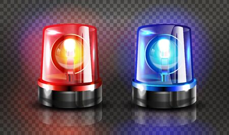 Red and blue flashers Siren Vector. Realistic Object. Light effect. Beacon For Police Cars Ambulance, Fire Trucks. Emergency Flashing Siren. Transparent background vector illustration Banque d'images - 132869370